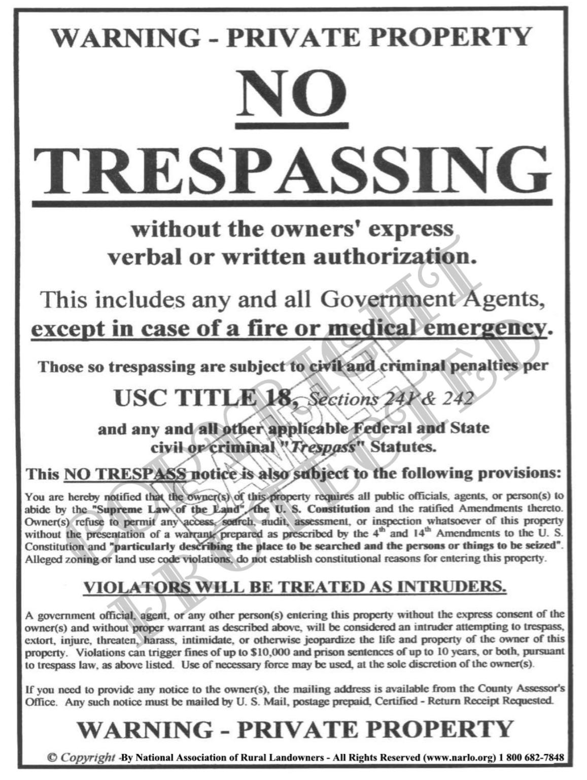NARLO No Trespassing Sign