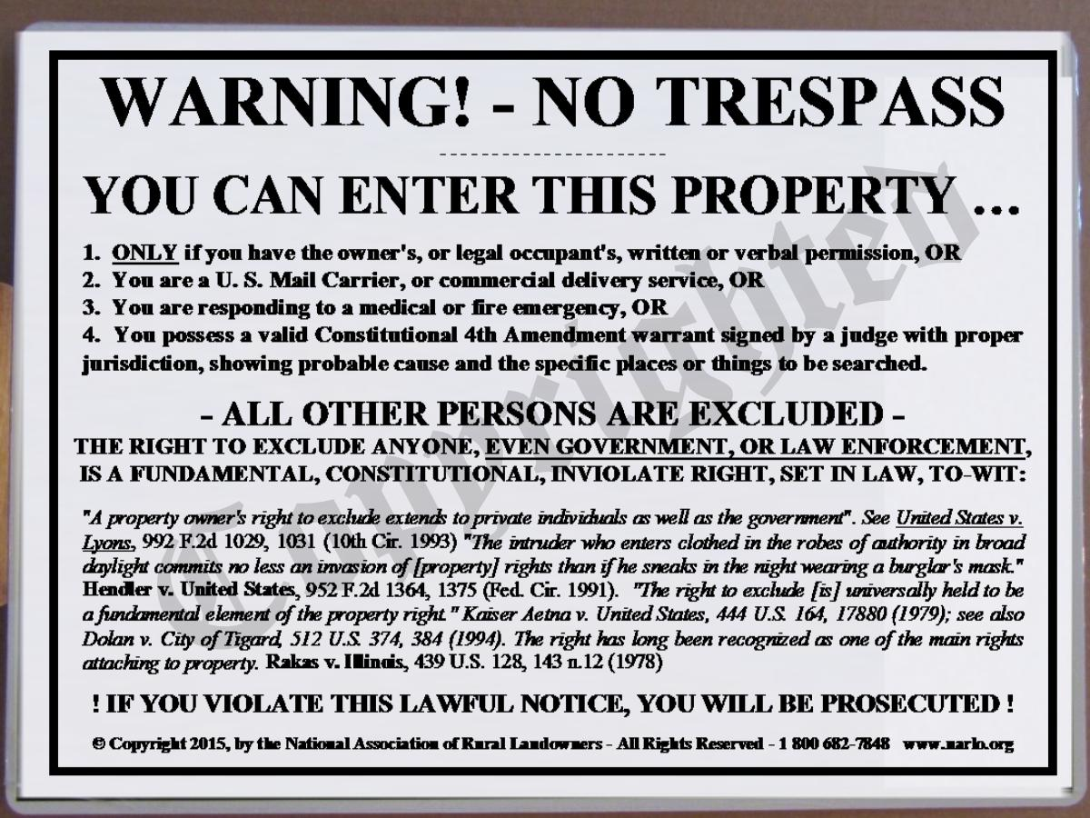 NARLO Right-To-Exclude No Trespass Sign